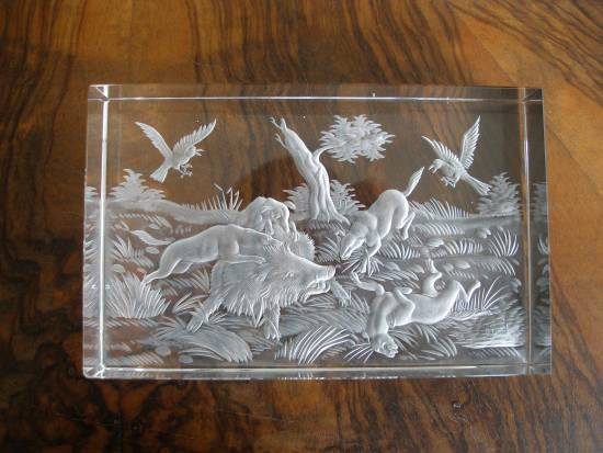 Plaquette, cut crystal with engraved wild boars fighting withdogs