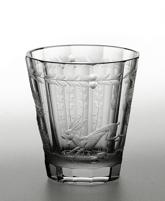 Engraved glass - hare