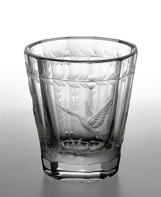 Engraved glass - wild duck