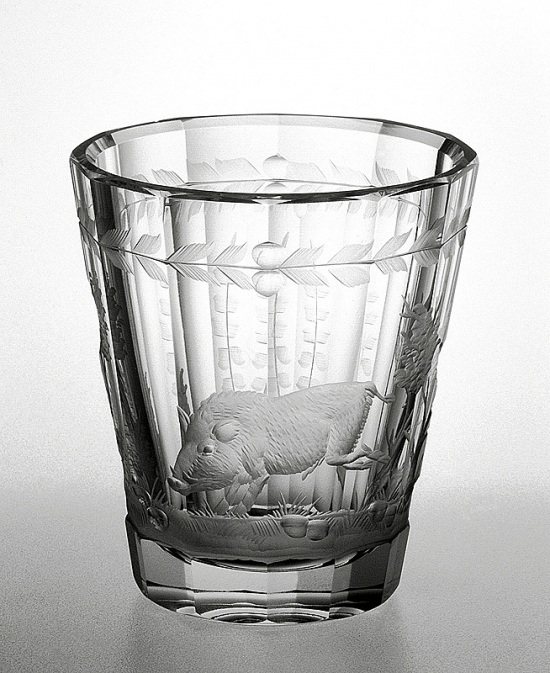 Engraved glass - wilde boar
