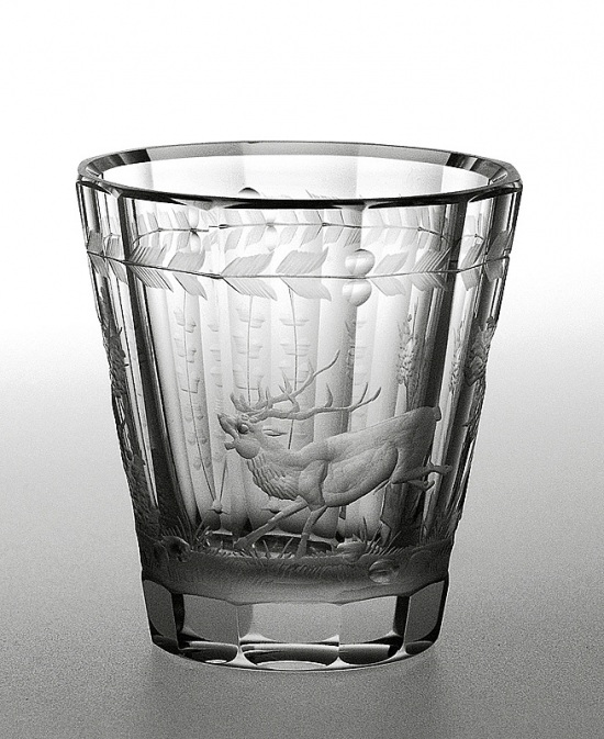 Engraved glass - deer