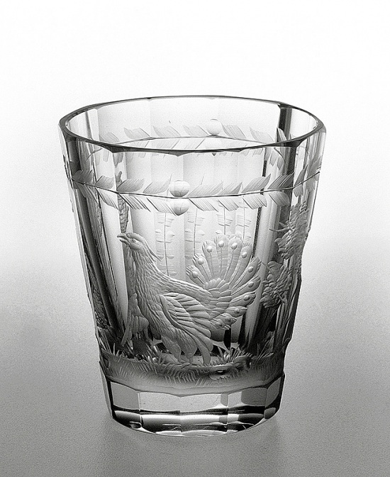 Engraved glass - heath cock