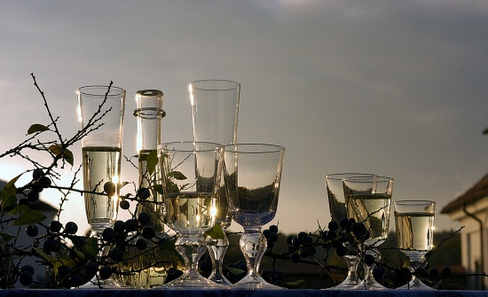 Hotshaped and mouth blown garden glasses