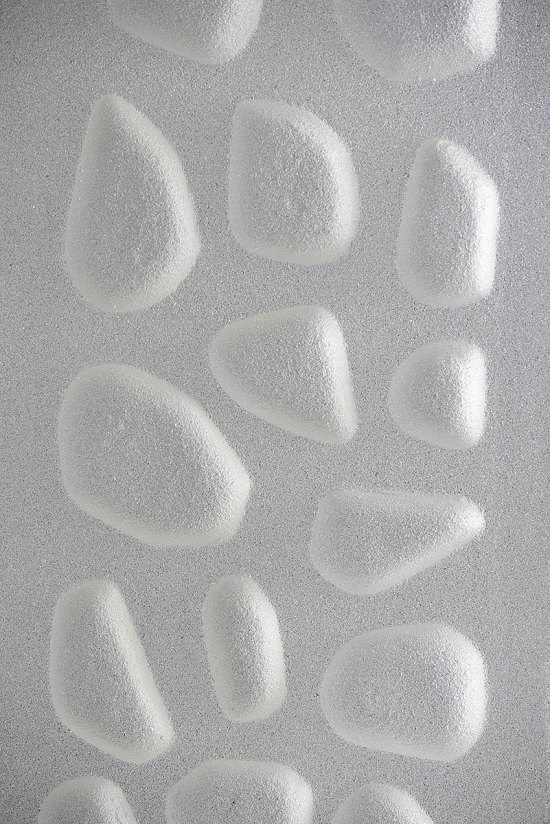 STONEWAY Collection cast glass reliefs sandblasted finish